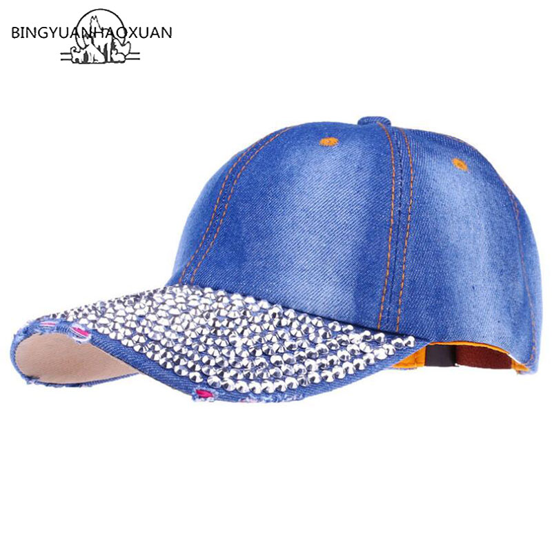 BINGYUANHAOXUAN 2018 New Wholesale Retail Hat Cap Leisure Fashion Rhinestone Bling Cotton CAPS Baseball Cap the new children s cubs hat qiu dong with cartoon animals knitting wool cap and pile