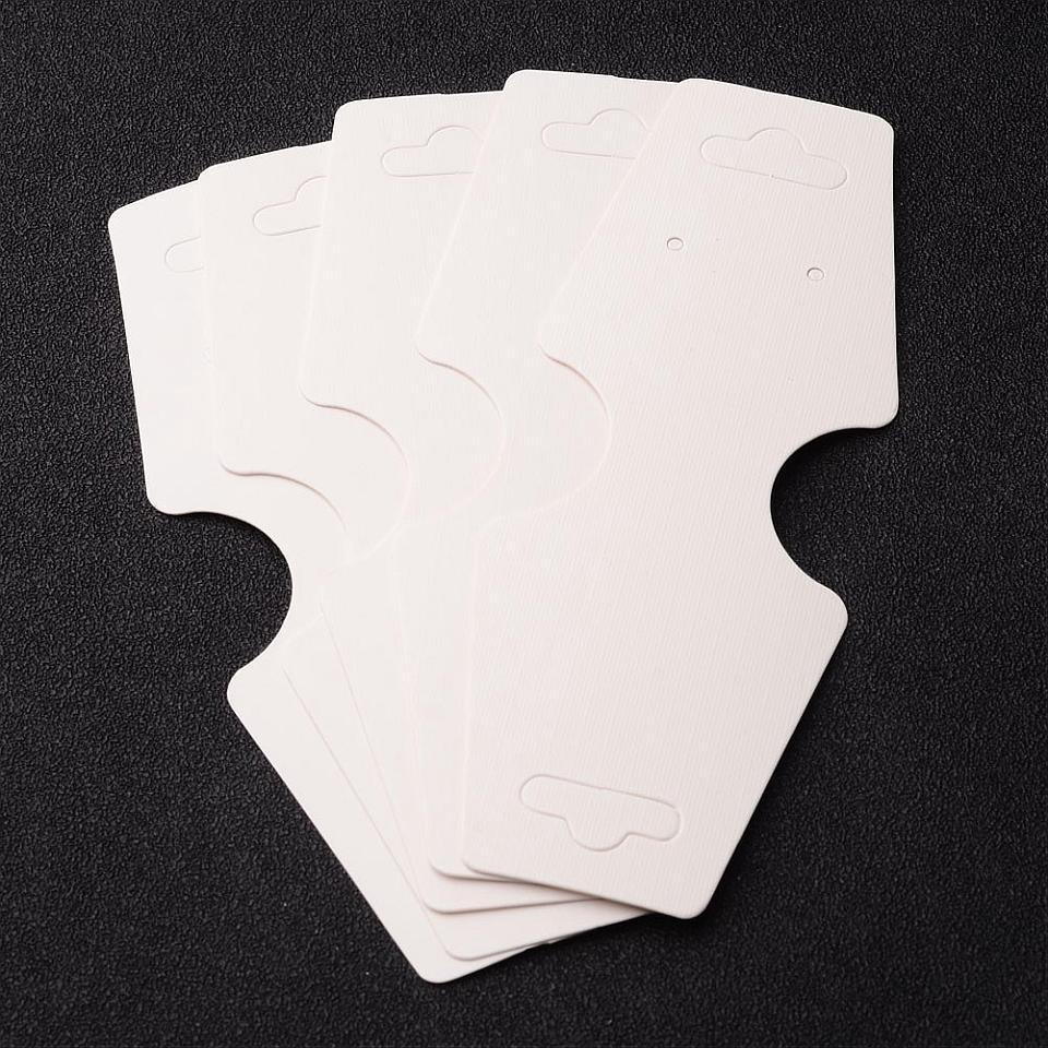 2000pcs Paper Display Card, White, Used For Necklace, Bracelet and Mobile Pendant, About 12.2cm long, 45mm wide