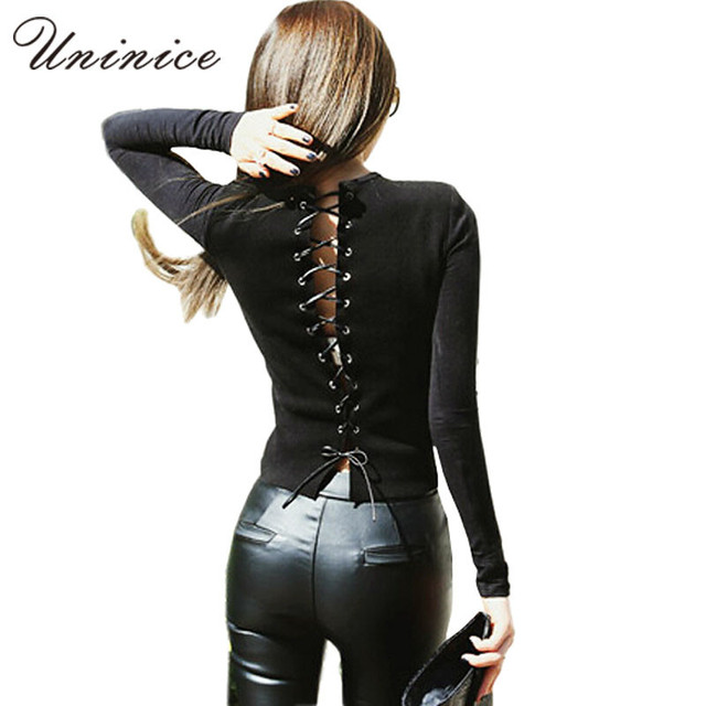 sexy back bandage shirt 2017 spring knit shirt fashion black splicing full sleeve t-shirt hollow out thin knitwear women tops