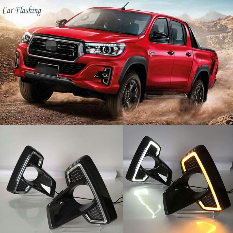 LED DRL For Toyota Hilux Revo Rocco 2018 2019 Styling Daytime Running Light Fog Light Driving