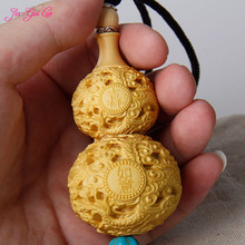 JIA-GUI LUO Boxwood sculpture gourd pendant carving decorative crafts birthday gifts collectibles Car A024