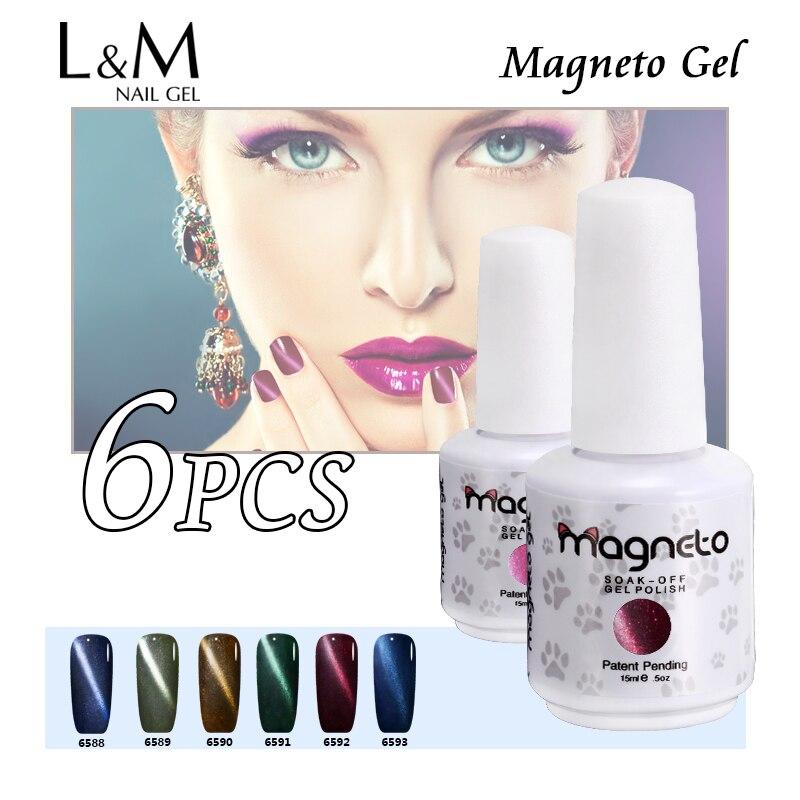 Three Free Nail Polish Brands List: 6 Pcs Free Shipment Lvmay Brand Magnetic Cat Eyes Nail Gel