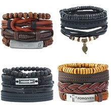 Vintage Multilayer 4Pcs/Set Leather Bracelet Sets For Men Women Fashion Braided Handmade Wood Beads Wrap Bracelets & Bangles Set