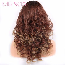MISS WIG Synthetic Short Wig Brown Hair Afro Kinky Curly For Women Wig Beauty Forever Hair High Temperature Fiber 255g(China)