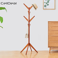 Solid Wood Floor Coat Rack Free Standing Wood Tree Coat Rack Stand For Coats Hats Scarves Clothes Creative Home Furniture