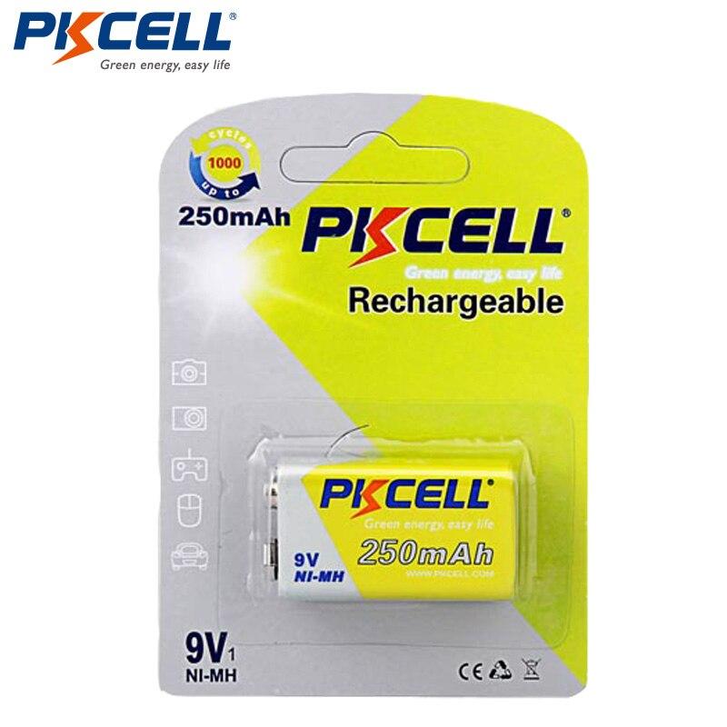 1 6F22 Pack Bateria NI-MH PKCELL 250mAh 9V Bateria Baterias Bateria Recarregável Baterias para termômetro Eletrônico