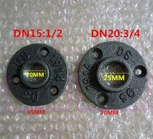 """10 pièces 1/2 """"3/4"""" noir décoratif en fonte malléable plancher/mur bride en fonte malléable raccords de tuyauterie BSP trou fileté"""
