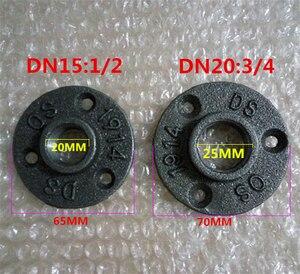 """Image 1 - 10 sztuk 1/2 """"3/4"""" czarne dekoracyjne ciągliwe żelazo podłoga/ściana kołnierz rurka z żeliwa ciągliwego armatura BSP gwintowany otwór"""