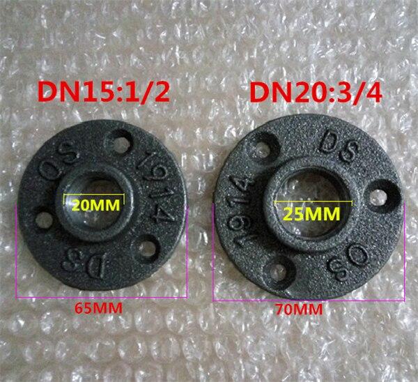 """10 sztuk 1/2 """"3/4"""" czarne dekoracyjne ciągliwe żelazo podłoga/ściana kołnierz rurka z żeliwa ciągliwego armatura BSP gwintowany otwór"""