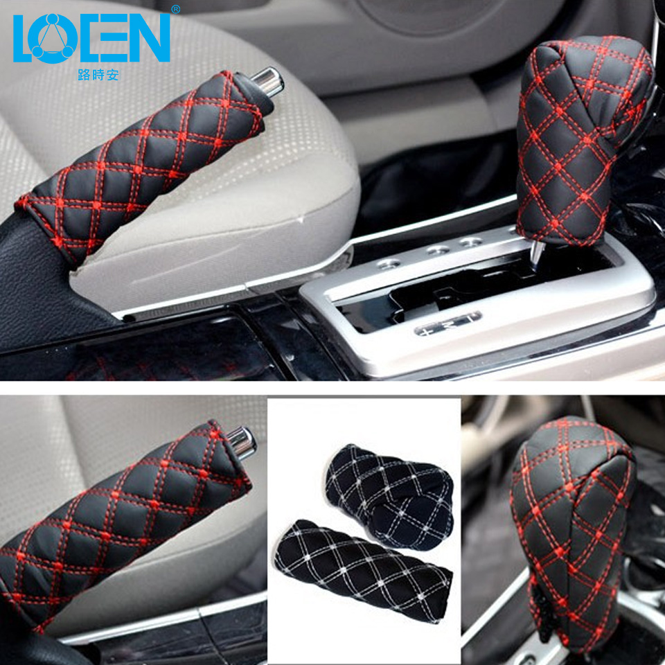 PU Leather Gear Shift Stick Cover Auto Car Hand Brake Cover Car Styling Accessories Handbrake Grips For opel astra ford focus