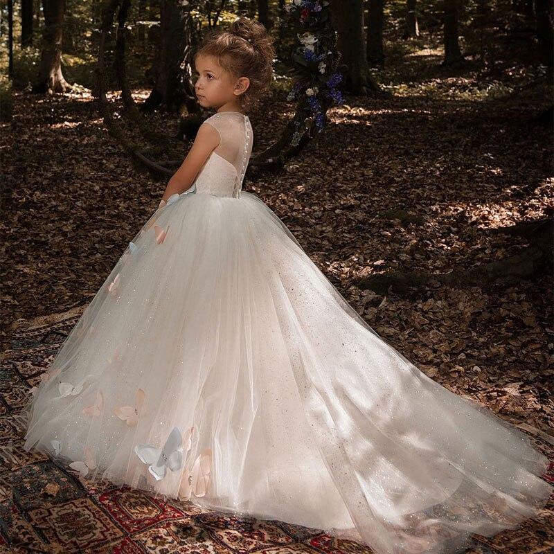 蝶フラワーガールのドレス 2019 高級子供イブニングページェントボールガウンの初聖体のドレス Vestidos dami
