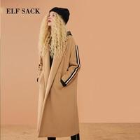 ELF SACK Autumn New Women Woolen Coat 31.7%Wool Full Solid Turn down Collar Wide waisted Loose Wool Blends Femme Woolen Coats