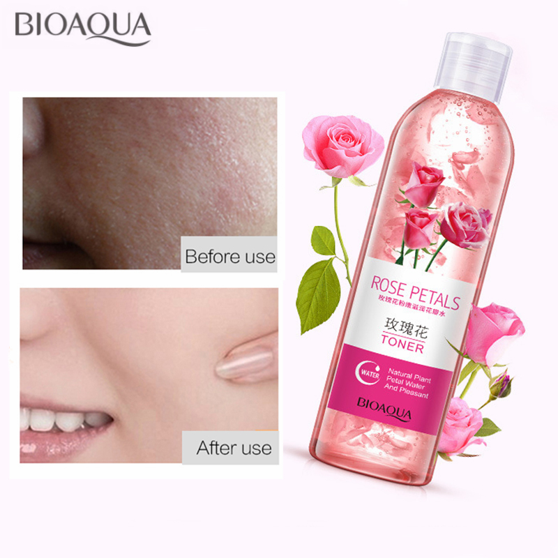 BIOAOUA Rose Petals Essence Water Face Toners Shrink Pores Anti-Aging Whitening Moisturizing Oil Control Skin Care Toner 250ml