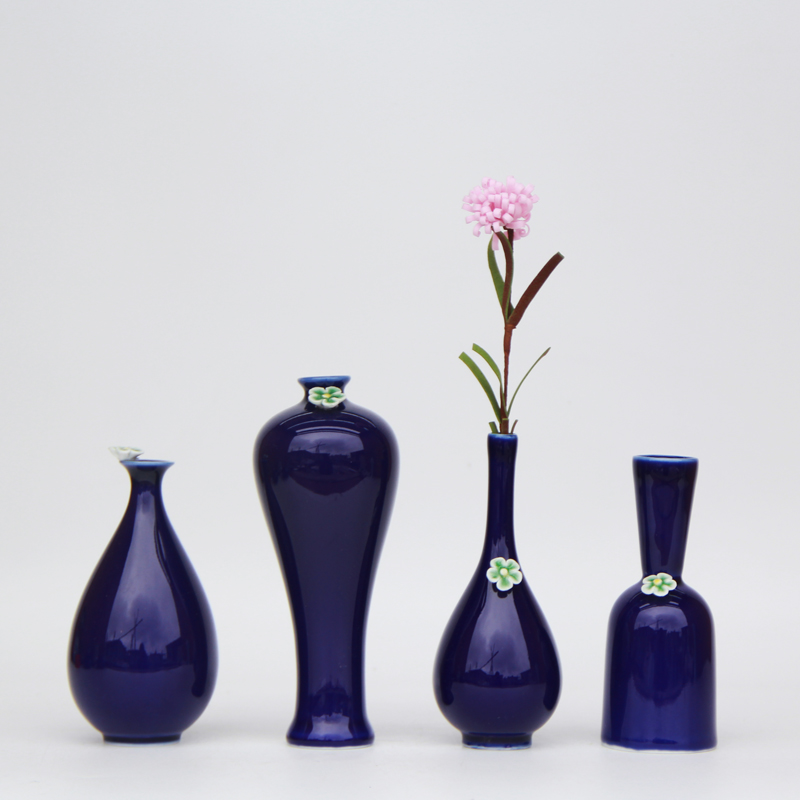 Цзиндэчжэнь Керамика мини синей вазе цветочек бутылка японский цветок-вазы-оптовая продажа Творческий дом меблировки
