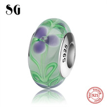 цена SG classic silver 925 charms Murano glass beads with romantic purple flower fit authentic pandora bracelets jewelry making gift