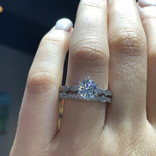 Vintage Round CZ Wedding Ring Set for Woman Party Finger Jewelry Gift Dropshipping 2 PCS/Set