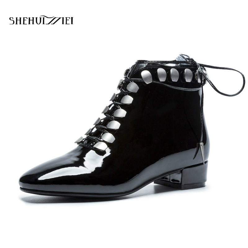 SHEHUIMEI 2018 New Arrival Genuine Leather Low Heels Metal Career Boots Winter Shoes Elegant Round Toe Lace Up Women Ankle Boots 2018 new arrival genuine leather zipper runway autumn winter boots round toe high heels keep warm elegant women ankle boots l29