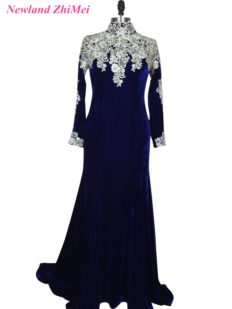 Royal Blue Velvet Prom Dress Charming Woman Long Sleeves High Neck Mermaid Evening Foraml Party Gown vestido formatura