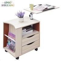 Модный ноутбук стол деревянная стойка офисный стол с ящиком компьютерный стол можно перемещать складной стол Спальня прикроватный шкаф