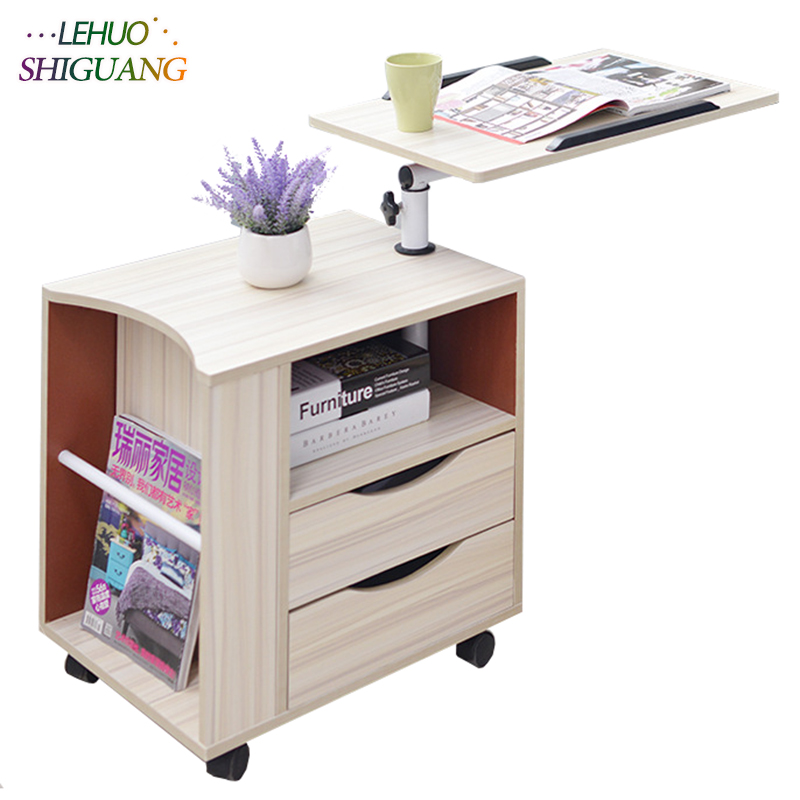 Fashion Laptop table Wooden standing office desk With drawer computer desk Can be moved folding table bedroom Bedside cabinet wooden dressing table makeup desk with stool oval rotation mirror 5 drawers white bedroom furniture dropshipping