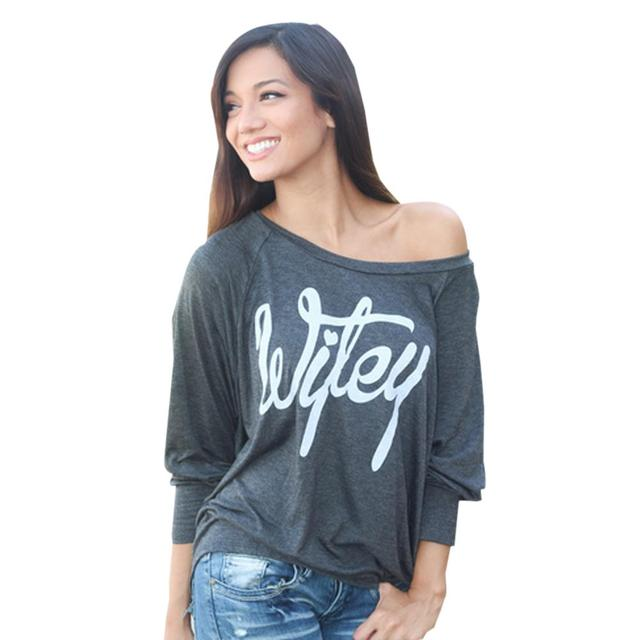 3dd7f91c3f Long Sleeve Shirt Women Wifey Cotton Casual Letter Tee Shirt Grey Blouse  One Shoulder Off Big Size Loose Tops Back Slit Fashion