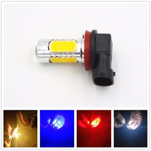 CYAN SOIL BAY H11 7.5W Super White 5 COB Projector LED Bulb Fog/Driving DRL Lamp Lens Rear Light Amber Red Ice Blue Pink