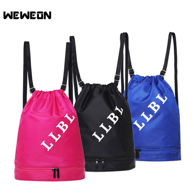Multicolors Portable Sports Bag Waterproof Swimming Backpacks Double Layer Drawstring Travel Shoulder Bags with Shoes Storage