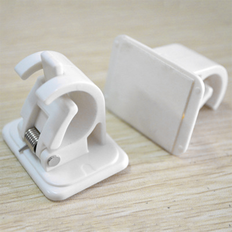 2pcs 45*42*32mm Rod Bracket White Pole Holder Support Stick Clamp Organizer Clips Rails Rack Self Adhesive Hanger Hooks