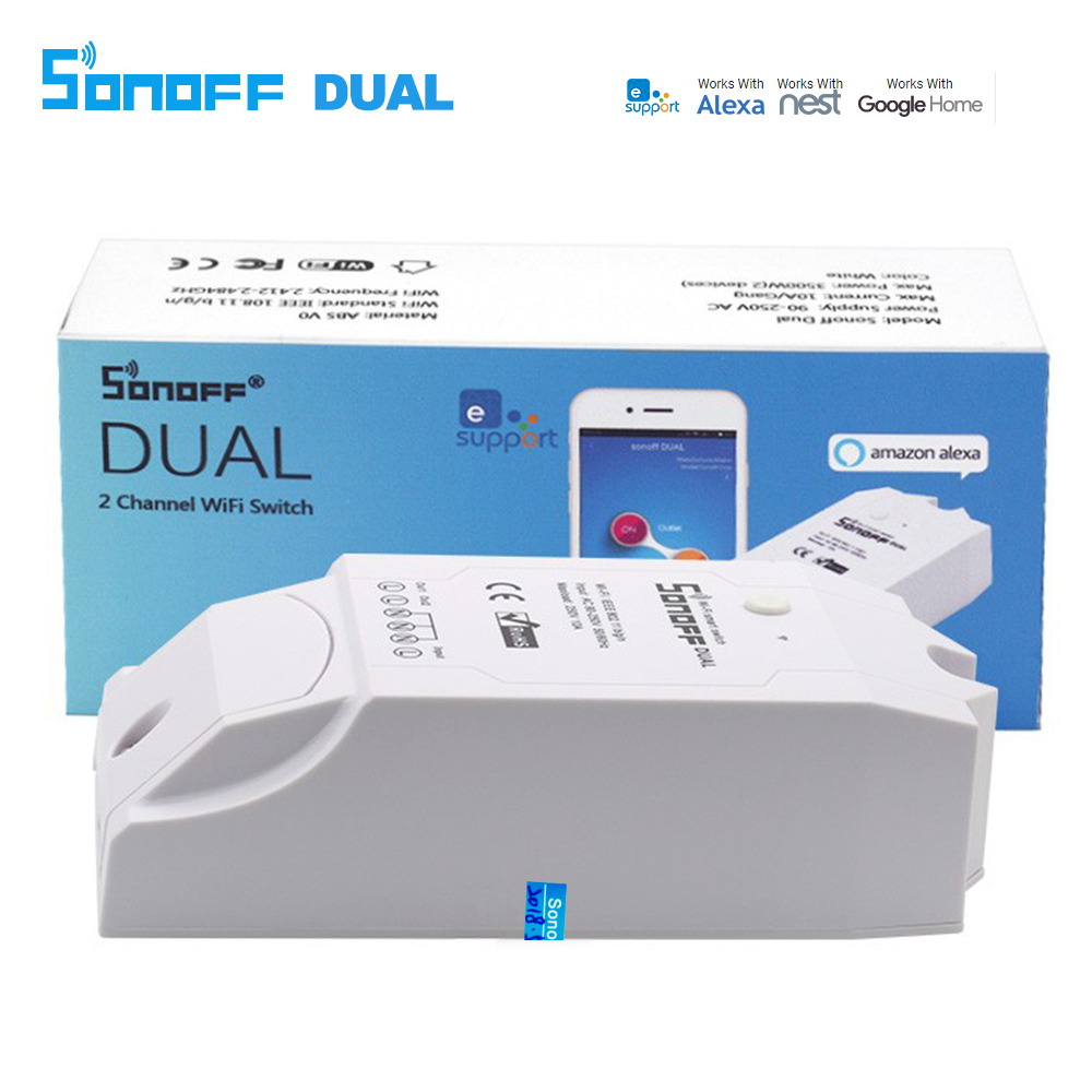 Sonoff Dual Smart Switch Control 2 Gang Wifi Remote Controller Smart Home Wi-fi Wireless Light Switch Works With Alexa itead sonoff smart wifi switch diy smart wireless remote switch domotica wifi light switch smart home controller work with alexa
