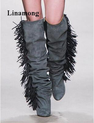 2018 европейский и американский стиль подиуме модные ботинки с бахромой Обувь на высоком каблуке на танкетке с острым носком весна осень Для
