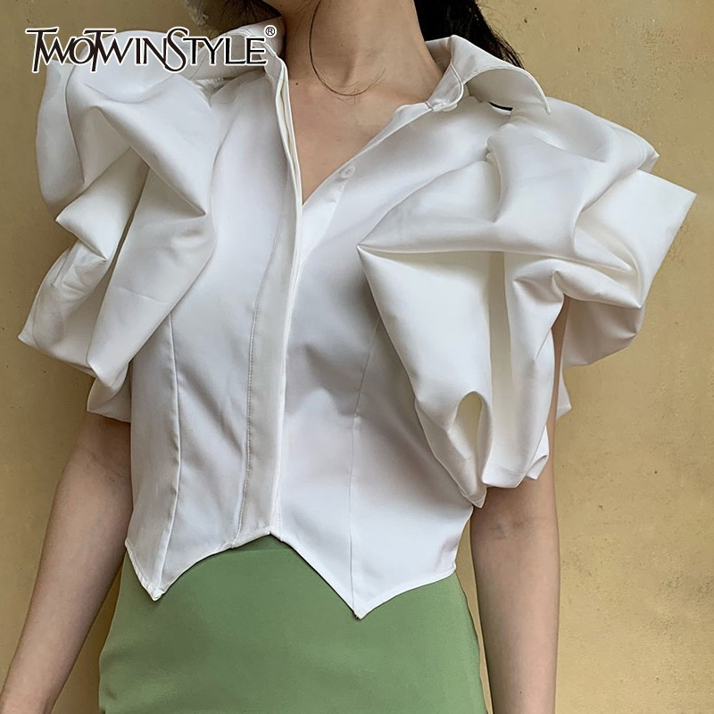 TWOTWINSTYLE Summer White Blouse For Women Lapel Collar Short Sleeve Ruffles Irregular Hem Shirt Tops Female Fashion 2020