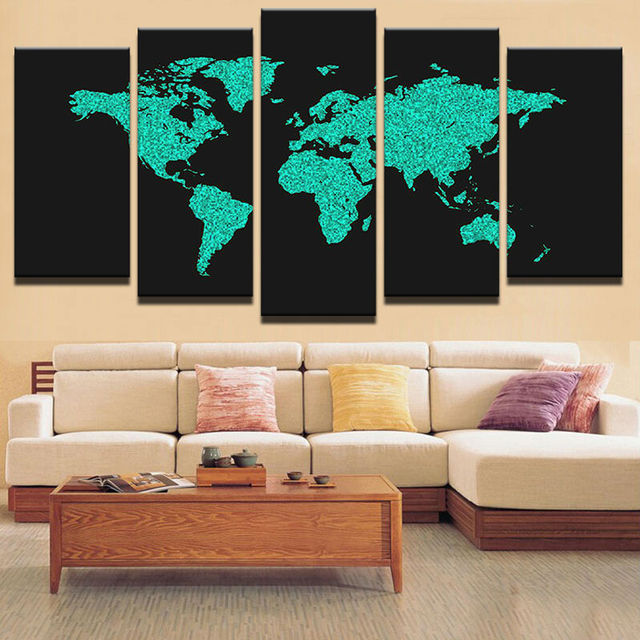 Modular canvas painting on canvas art home decorative wall modular canvas painting on canvas art home decorative wall painting 5 panels world map wall picture gumiabroncs Images