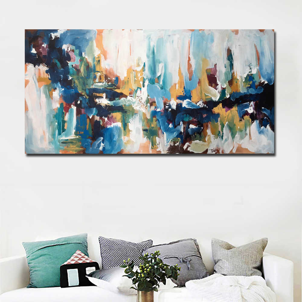 Kanvas Abstrak Seni Dengan Omar Obaid Biru Lukisan Minyak Modern Lukisan Dicetak Di Atas Kanvas Cetak Poster Dekorasi Rumah Tanpa Bingkai