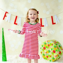 Girls Christmas NightGown Ruffle Dress Christmas Pajamas Red And White Stripe Embroidered Dress Me Christmas Dress eyelet embroidered ruffle trim dress