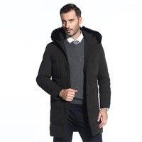 2018 зима новый бренд енота воротник Для мужчин парк куртка Для мужчин с длинным капюшоном подкладкой модная теплая куртка больше размер m 4XL