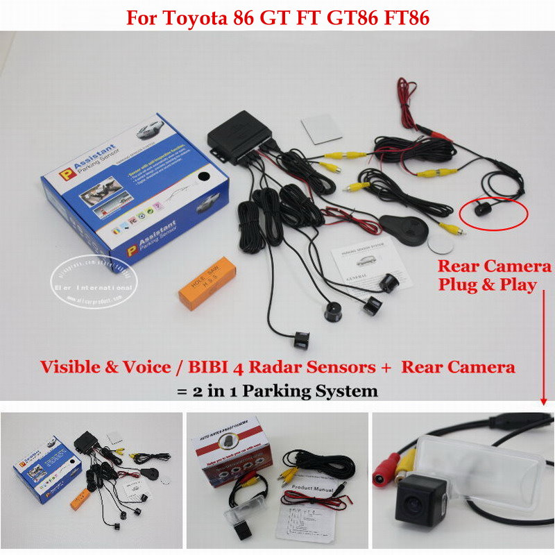 ФОТО For Toyota 86 GT FT GT86 FT86 - Car Parking Sensors + Rear View Back Up Camera = 2 in 1 Visual / BIBI Alarm Parking System