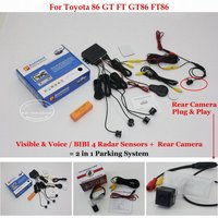 Liislee For Toyota 86 GT FT GT86 FT86 Car Parking Sensors + Back Rear View Camera = 2 in 1 Visual / BIBI Alarm Parking System