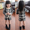 Autumn Girls Clothing Sets 2016 Girls Winter Houndstooth Suits Long Sleeve Plaid Jackets+Shorts Pants 2Pcs for Kids Suits CE105