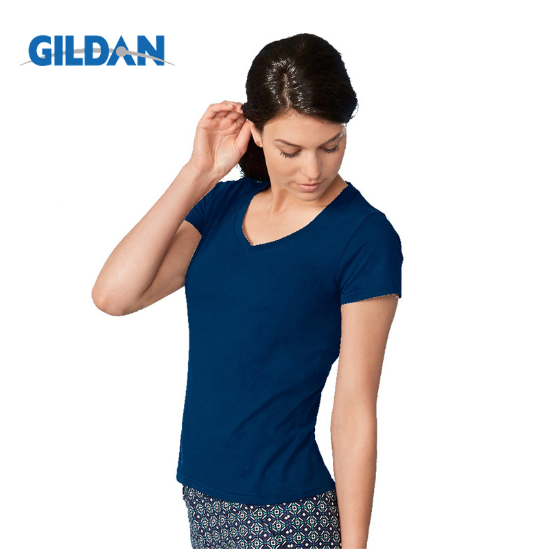 Gildan Brand Women Summer V Neck Short Sleeve T Shirt Slim Sexy Camiseta Feminina T Shirts Female Plus Size Tops Tees in T Shirts from Women 39 s Clothing