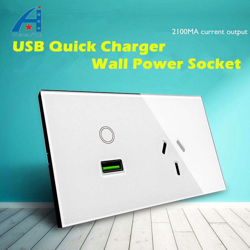 AU standard 3 pin plug (down) Wall Socket with 2100Ma USB Quick charger electrical outlet, Tempered Glass Panel ON / OFF Touch p uk standard 1 gang socket with 2 usb chargering 3 pin white glass panel wall socket and 2100ma usb wall plug outlet