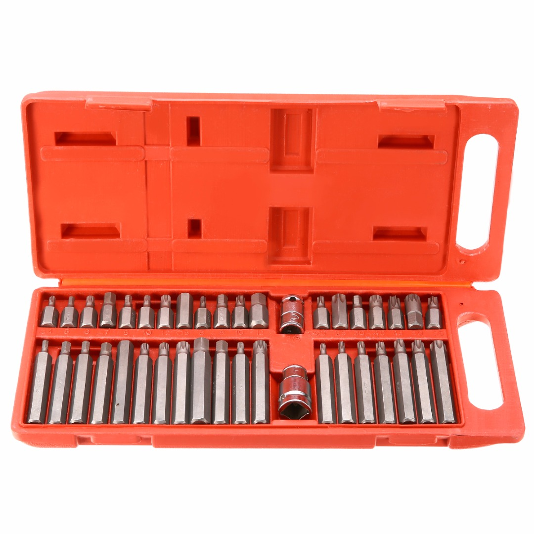 Top Quality 40Pcs Torx Hex Star Spline Socket Bit Set Magnetic Screwdriver Head Bit Adapters 3/8 1/2 Repair Tools Mayitr 10pcs set hex magnetic nut driver set socket 1 4 shank impact magnetic nut setter driver bit adapter