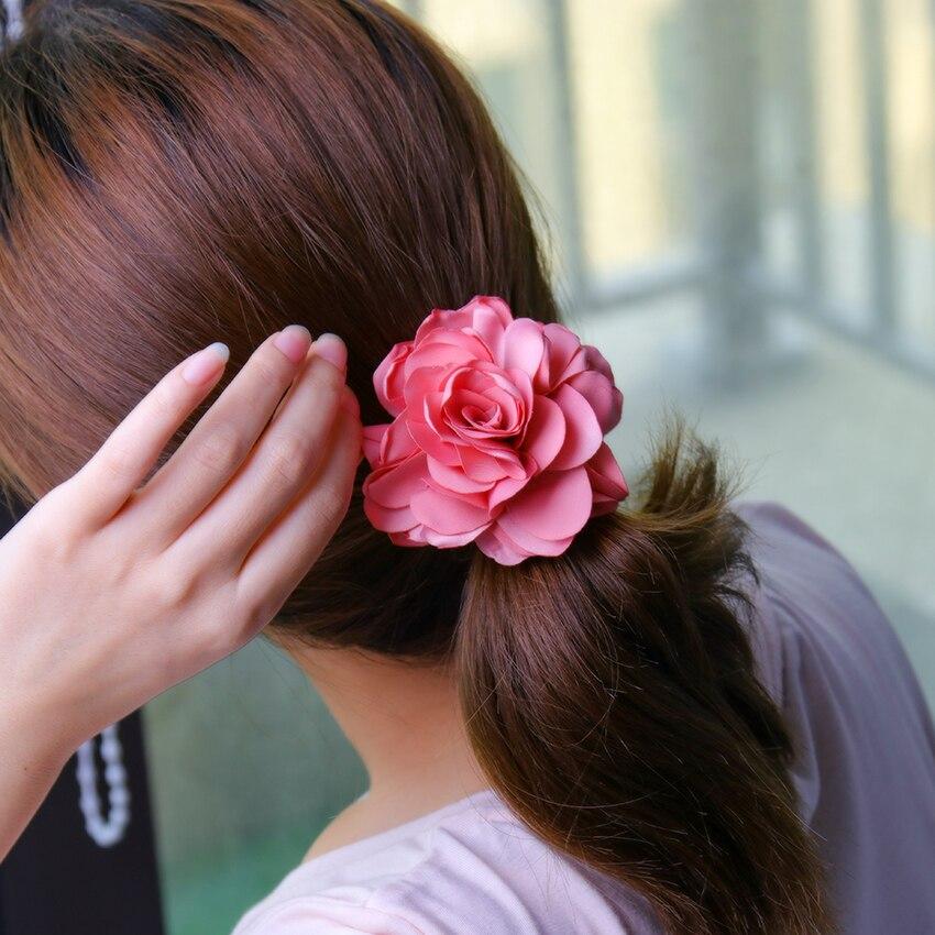 1PC Girls Hair Accessories Rose Flower Hair Circle Ponytail Elastic Hair Rubber Bands Rope Girls Women Headwear