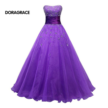 DORAGRACE Real Photos Glamorous Beaded Strapless A Line Floor-Length Purple Tulle Prom Dresses DGE087