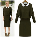 Long Sleeve Turn-down Collar Pullover Women Dress Spring And Autumn Women Knitted Sweater Dress Brand Style Knee-Length Clothes