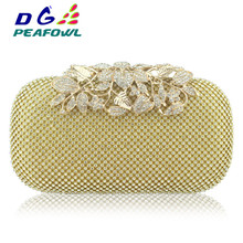 New Fashion Golden All Diamond Metallic Women Evening Bags Ladies Wedding Party Clutches Purses Bay Package 2017 hot new women day clutches luxury diamond dinner bag full diamonds ladies evening bags bride dress party bag purses bolsa