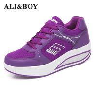ALI & MENINO Marca Sapatos Esportes Ao Ar Livre Respirável Mulher Tênis Para Mulheres Formadores Tênis Cunha Sapatos de Fitness Perder Peso