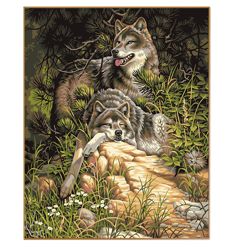 PHKV Diy Oil Paint Painting By Numbers Diy Picture Wolf Drawing On Canvas Oil Painting By Hand Coloring Animal Home Decoration