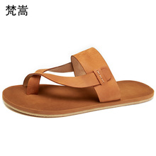 flip-flops Genuine Leather leather beach slippers outside anti-skid fender summer men genuine British retro