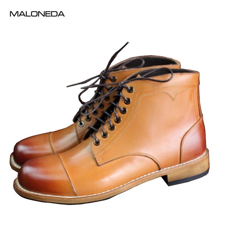 Malonede Do Cor Dedo Marrom Pé Couro Casual Gota Rendas Homens Genuíno Transporte Dos Redondo De Da Até Bespoke Goodyear Ankle Boots Artesanal qqErnd56Ww