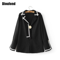 Dioufond Solid Loose Pajamas White Tops Women Flare Split Long Sleeve Ladies Office Shirt Casual Black